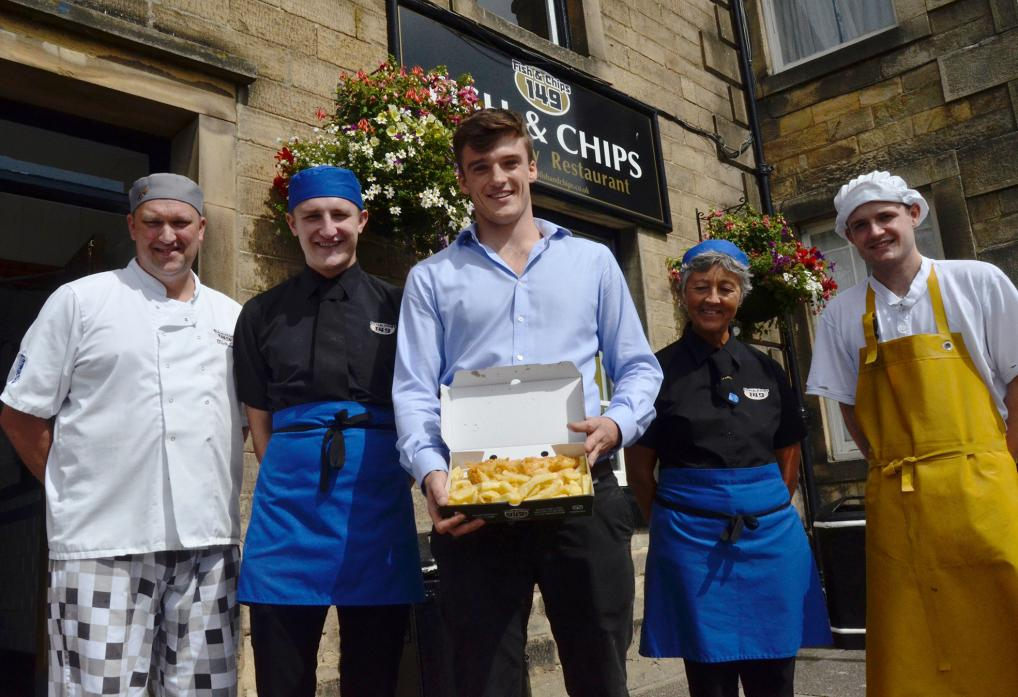 BATTERING THE OPPOSITION? From left, staff Mike Sutherland, Charlie Nicholson, Nick Gilbertson, Mandy Bird and Ben Purchese at 149 Fish and Chips, in Barnard Castle, are hoping for third time lucky in the national competition