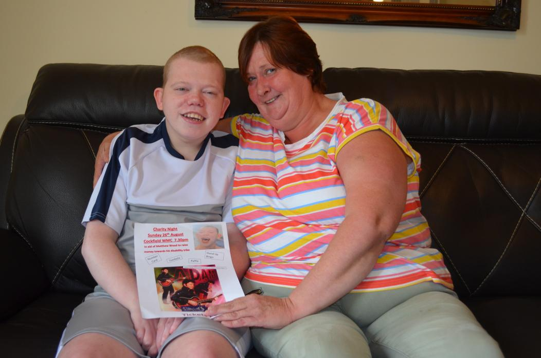 FOR YOU, SON: Lisa Wood is organising a night in Cockfield to help raise funds to buy her disabled son, Matthew, a new trike