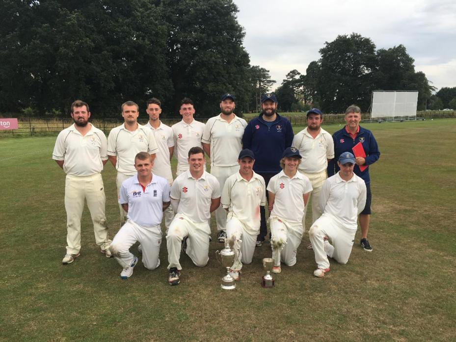 CUP WINNERS: The successful Raby Castle squad who retained the Cec Leece Trophy after defeating Middleton St George by five wickets