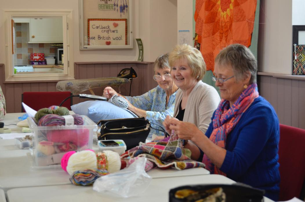 IT'S STITCH UP: Margaret Dent, Ann Irving and Joyce Close concentrating on their crafts