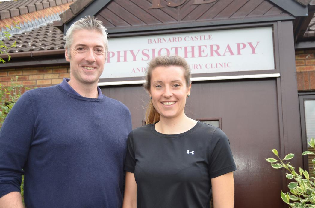HAPPY TO BE BACK: Rebecca Morrell joins the staff at Barnard Castle Physiotherapy. She is pictured with owner Paul Eddy