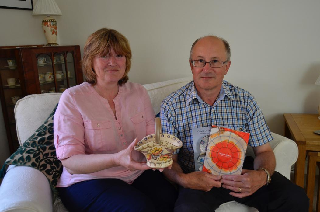 ART SHOW: Margaret and Ian Newton with their Charlotte Rhead pottery basket and the booklet produced for the exhibition