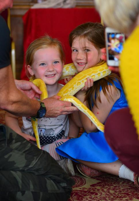 SSSS-UPER FUN: Sisters Lydia Hobson, 4, and Chloe, 7, with the python