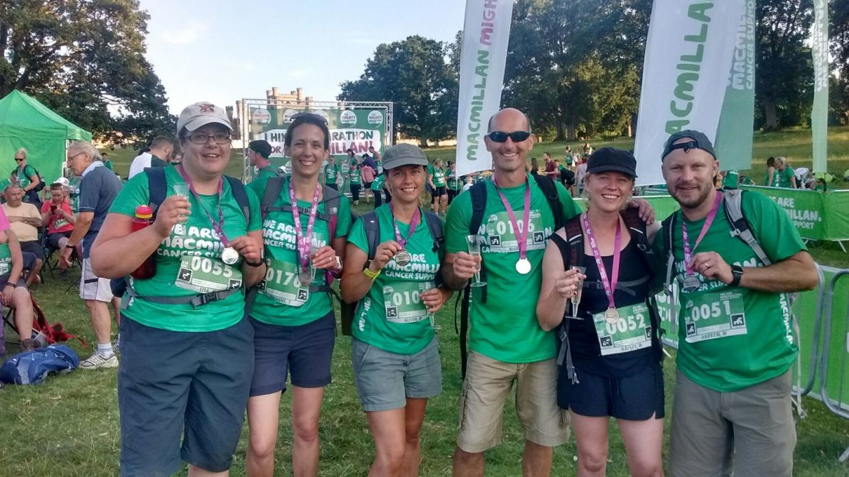 WORTH IT: Lisa Marshall, Suzanne Tweddle, Alison Mawer, Nigel Mawer, Hayley Matthews and Andrew Matthews hiked a marathon in aid of Macmillan Cancer Support