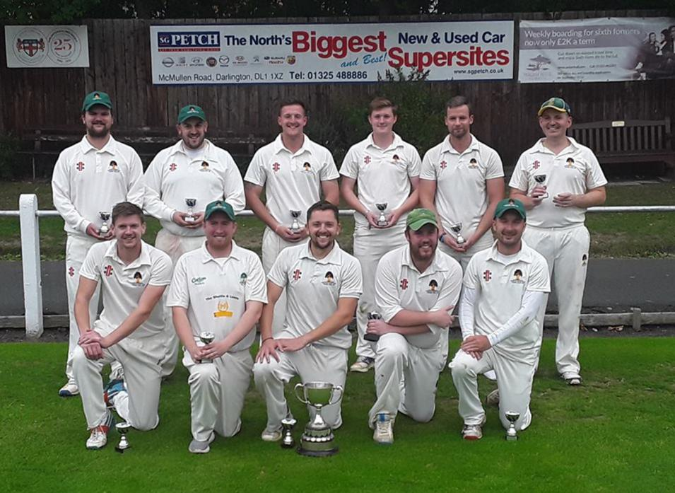 CUP JOY AT LAST: The successful Haughton side which won the Eggleston Cup final at Feethams on Sunday with a comprehensive win against Raby Castle. The final was staged at the third attempt after the previous two were washed out