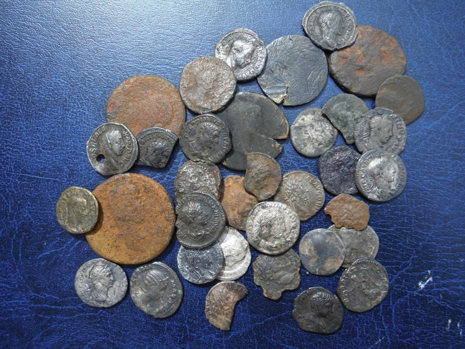 Some of the coins brought to the surface