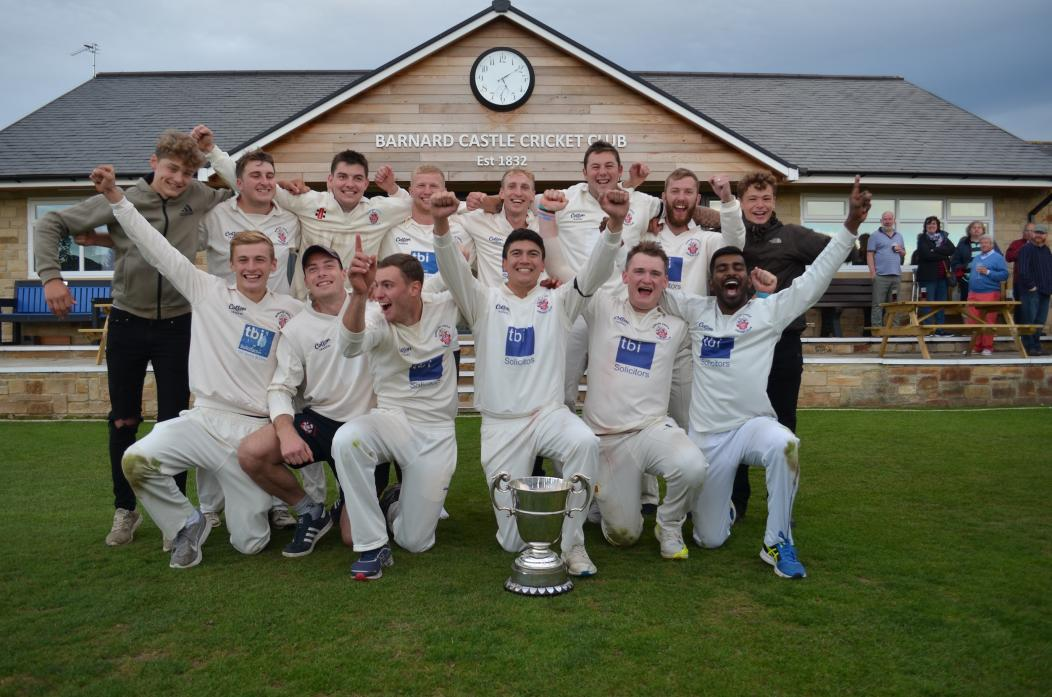 A GRAND YEAR: Barnard castle CC celebrate lifting the NYSD title for the second time in three seasons