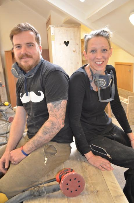 HAPPY: Crafty Couple Graeme and Amanda Edwardson in their workshop                   TM pic