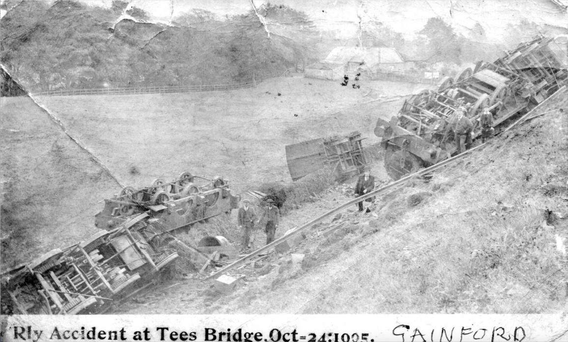 A bill was approved in 1854 for a line from a junction with the Stockton and Darlington  railway at Darlington to Barnard Castle. The line was built by the Darlington and Barnard Castle Railway opening in 1856. The picture above shows a crash in Gainford
