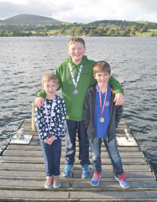 WELL DONE: Max Yeowart with brother Rory and Finn Goodman celebrate their success at Ullswater