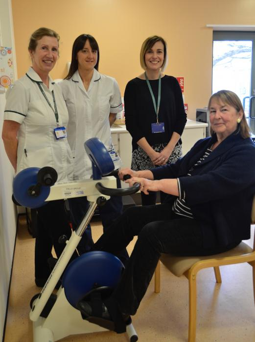 SUPPORT: Patient Helen Deakin with members of the falls clinic at Richardson Hospital Clare Regan, Natalie Gutteridge and Vicki Hird