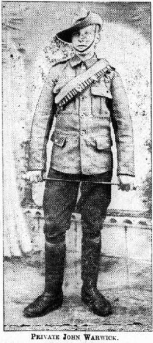 "This photograph appears in the Teesdale Mercury in 1914 and is titled ""Private John Warwick"".  However, his uniform doesn't seem right.  Can anyone explain the Australian-style hat? Please contact Judith Phillips at The Bowes Museum email: libraryandarchi"