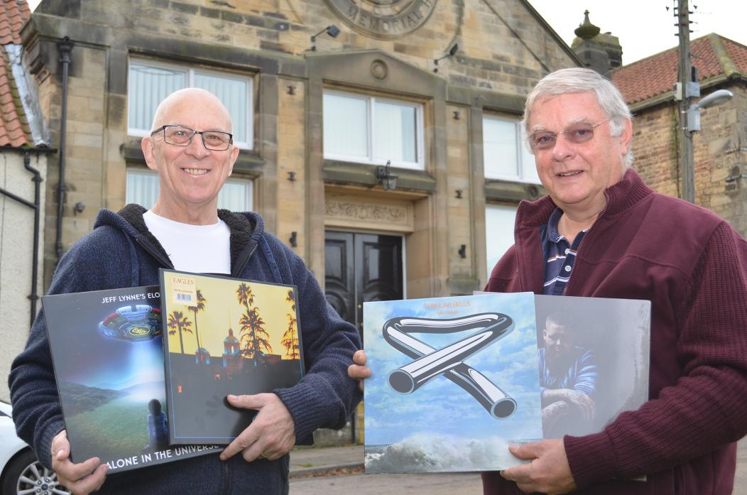 LISTEN AGAIN: Les Blair and Peter Barr, who have launched The Vinyl Countdown for lovers of albums at the Scarth Hall, Staindrop						              TM pic