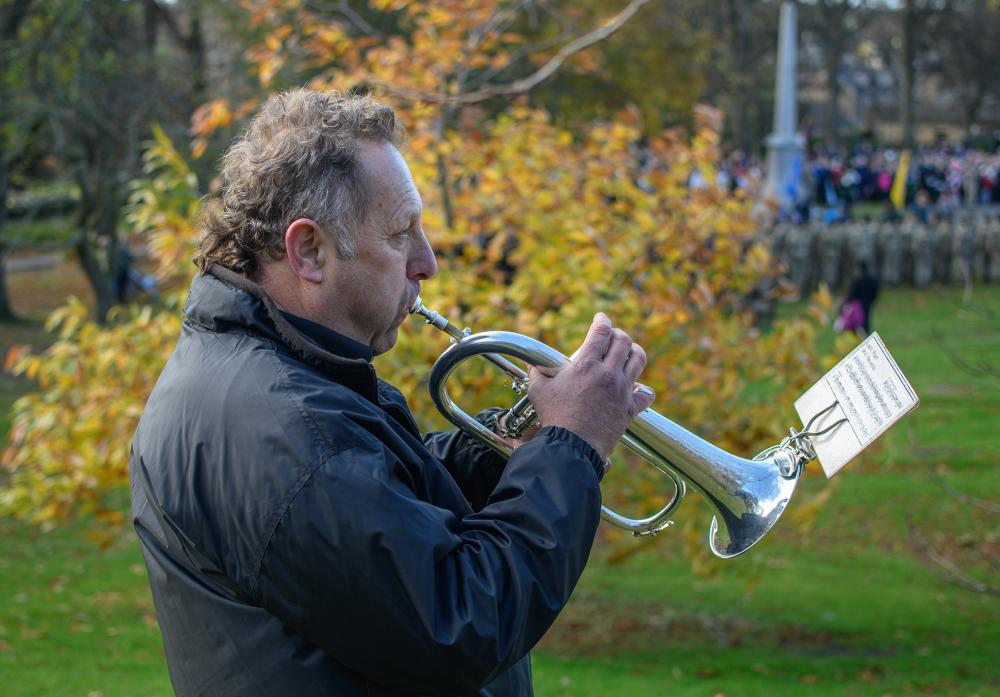 TIME TO REFLECT: Andrew Nicholson plays the Last Post in the grounds of The Bowes Museum