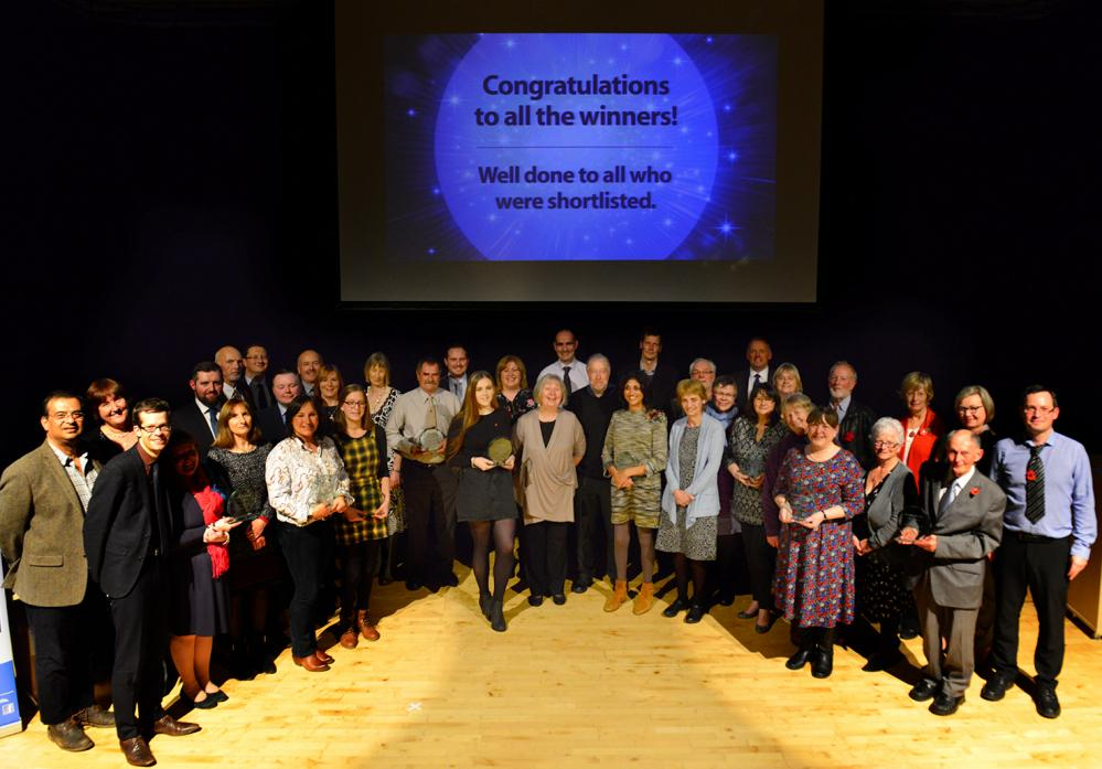 WINNERS TOGETHER: Those who won an award for their efforts gather on the stage of The Witham on Wednesday night