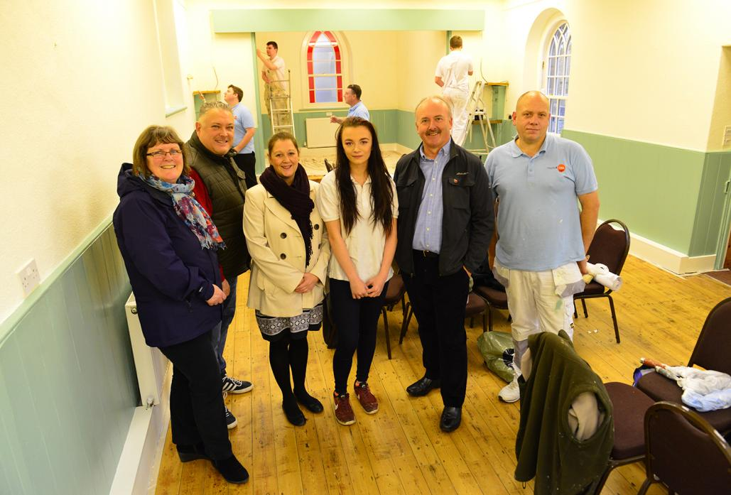MAKEOVER: Jane Teasdale of Stainton Village Hall, Andrew Coxon of Trades4Care, Michelle Andelin of Bishop Auckland College, student Lucy McCrindle, business advisor John Atkinson and Charlie Wright from Trades4Care during the renovation of Stainton Villag