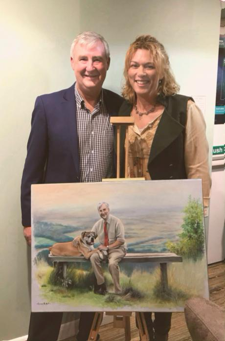 GIFTED: Barnard Castle artist Jo van Kampen presented The Yorkshire Vet star Peter Wright with a special piece of artwork in memory of his dog Alf