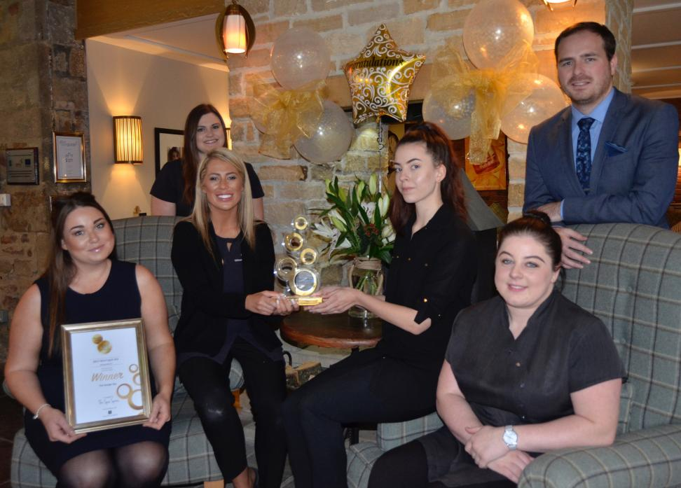 TOP AWARD: Staff at the Garage Spa are delighted to have won the Best Boutique Spa Award. From left are Amy Fell, Michelle Rowe, Pippa Oakley, Natalie Sains, Katie Capocci and Jonathan Cairns