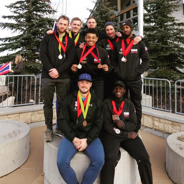 ON THE UP: The two GB bobsleigh teams with the medals gained at Park City, Utah. Middleton's Alan Toward is back row, centre