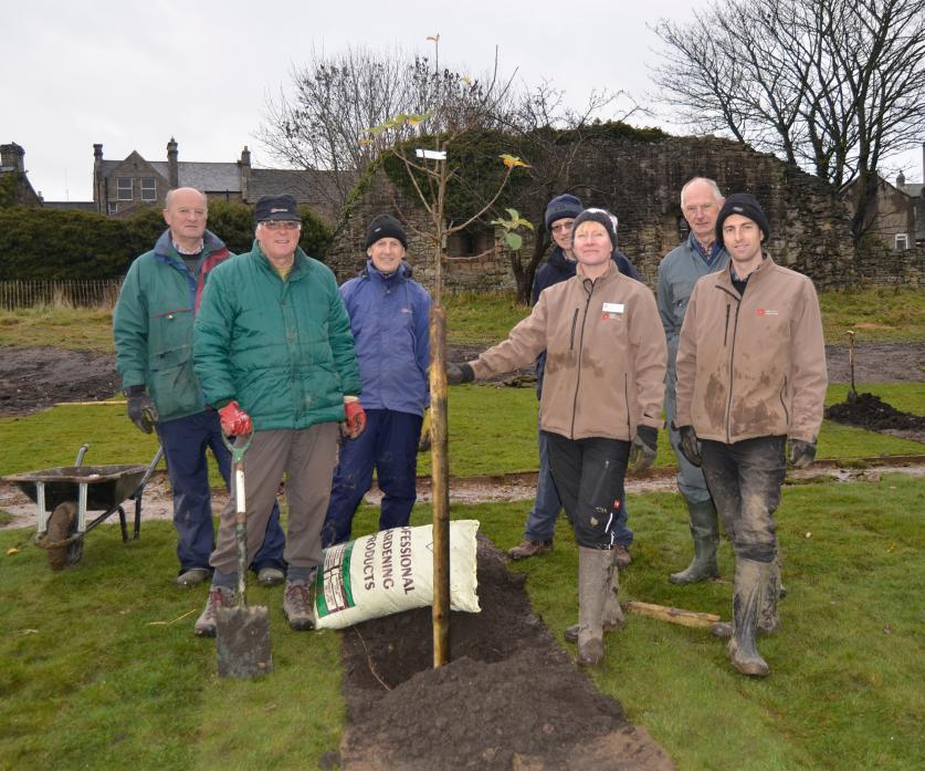 CASTLE GROUNDS: Trees for Teesdale volunteers Dave Peat, Geoff King, Dennis Hudson, Richard Child and Richard Jackson with English Heritage gardeners Karen Garamond and James Taylor planting the new garden