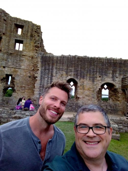 HISTORY HELP: Andrew Stables, right, with TV presenter Rick Edwards in Barnard Castle