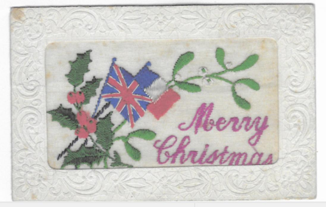 MEMENTO: Embroidered postcards were sent home from the men at the front – and provided income for French women, many of whom had been displaced during the conflict