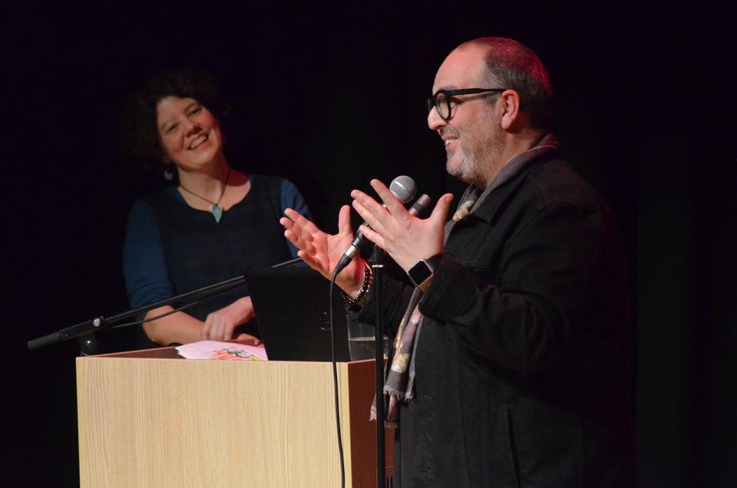RAISING A LAUGH: Comedian Justin Moorhouse entertains guests as the launch of The Witham's spring programme, watched by compere Sarah Gent