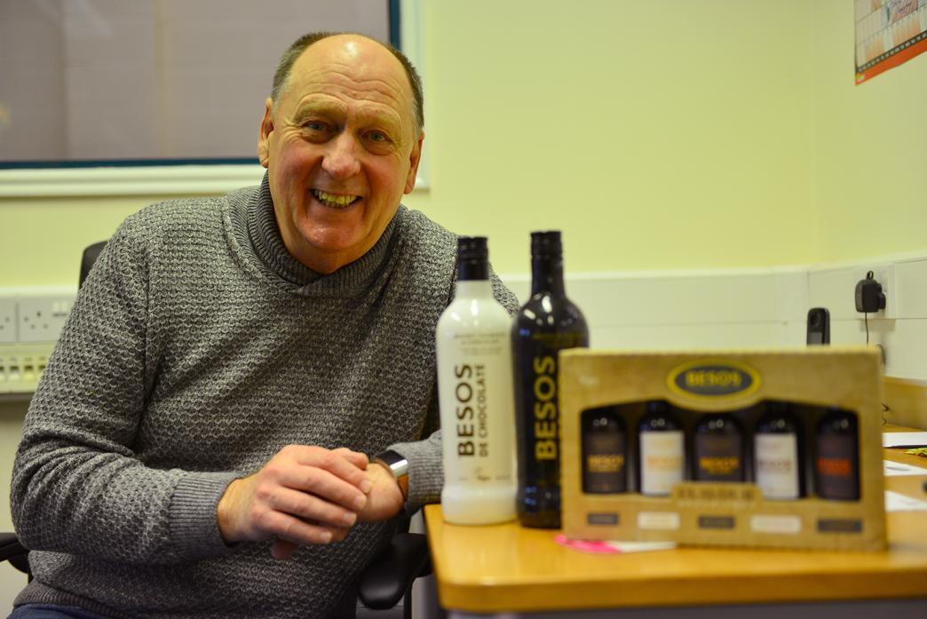 BUSINESS BRAIN: Peter Smith with the tiger nut cream liqueurs that earned him a place on the television series Dragon's Den						              TM pic
