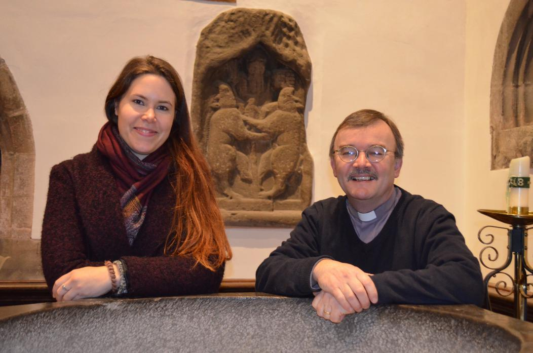 CHURCH PROJECT: DigVentures' community archaeologist Johanna Ungemach,and Revd Canon Alec Harding are welcoming the people of Barnard Castle into St Mary's Church to learn more about its history							             TM pic