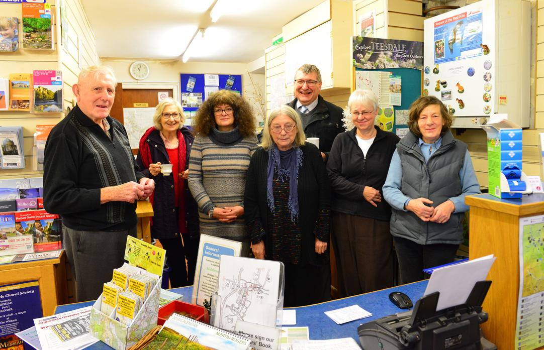 HELPFUL: Maurice Tarn, Suzanne McBain, Denise Charlton, Maggie Cleminson, Ian Tallentire, Lynda Bares and Doreen Heyes celebrate another successful year for Middleton-in-Teesdale Tourist Information Centre