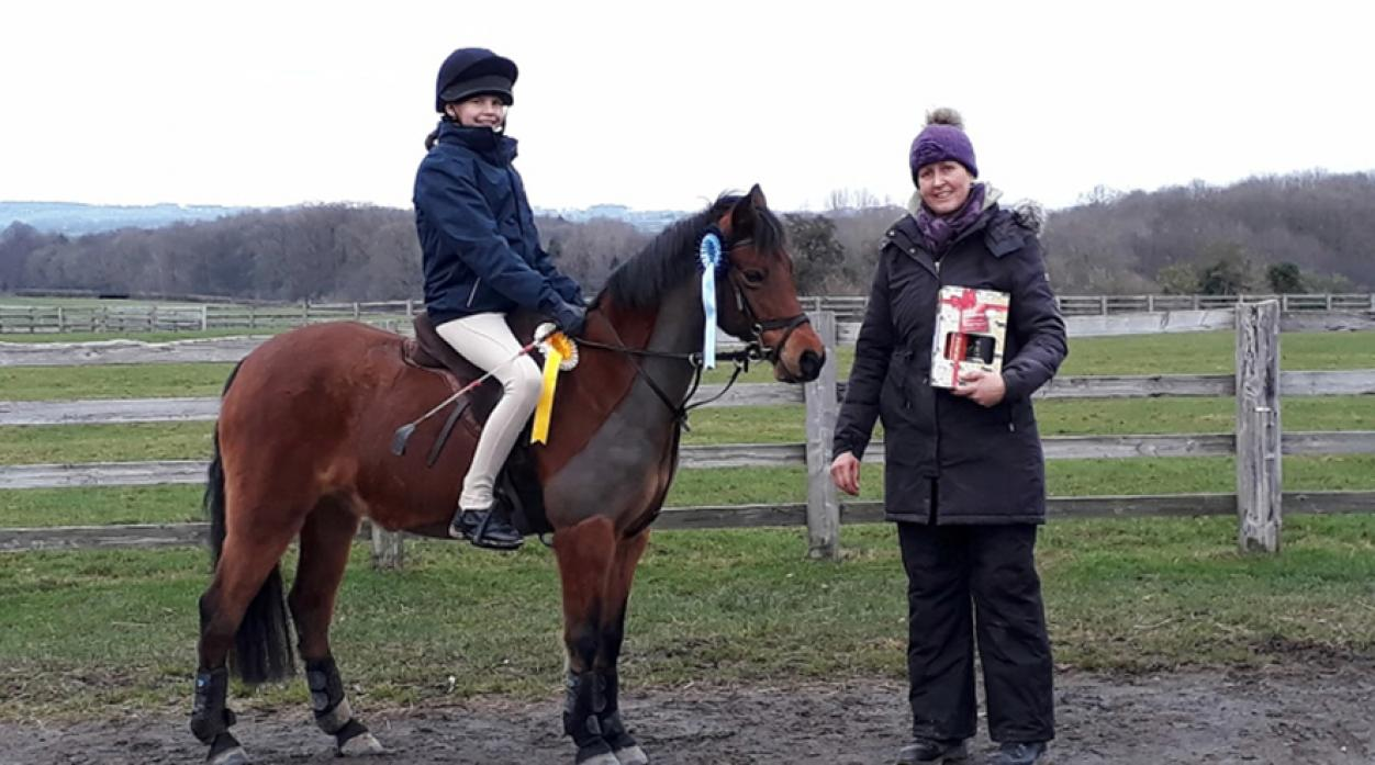 WELL DONE: Winner of the 45cm class Phoebe Ward, riding Princess. Phoebe competes in the Pony Club and Mounted games and has enjoyed some notable wins and success in her first season