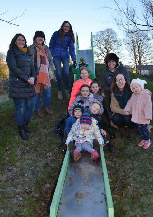 PARK PLANS: Volunteers hoping to make big changes to a dale play park, are from left, Brigitte Hodgson, Ali Collinson, Ruth Kneller, Sophie Markwick and Grace Crawford with their children