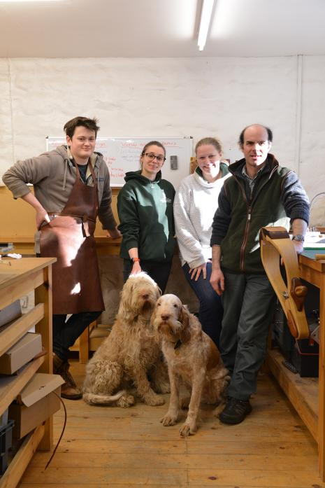 HARD WORK: Leather-worker Charlie Trevor, pictured far right, attributes his shortlisting for the Heritage Crafts Association's Maker of the Year award to the team at Equus leather which includes Rob Ford, Hannah Dunning and his wife Dawn .