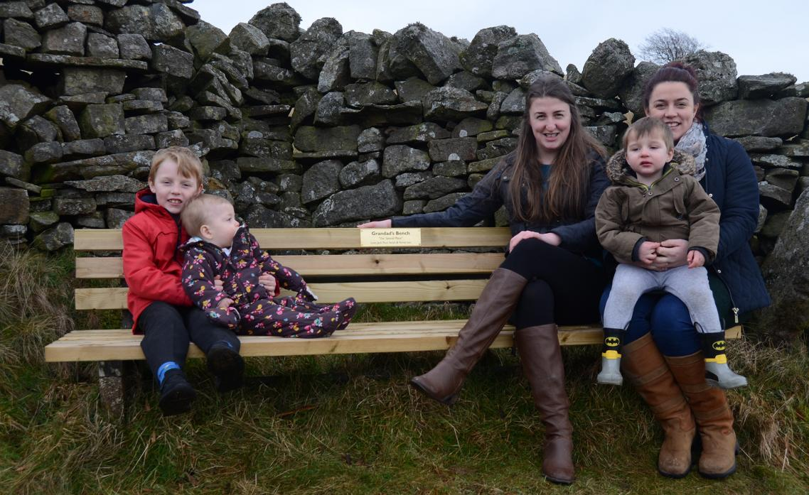 WE DID IT: Middleton's Phantom Bench Restorers are revealed – sisters Natalie Collinson and Rebecca Gailes with their children Jack Paul Gailes, 6, 11-month-old Ferne Collinson and Noah Gailes