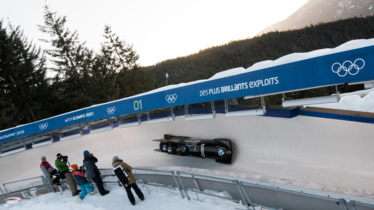UNLUCKY FOR SOME: The GB1 sled in action at Whistler in the bobsleigh world championships. The four-man team finished 13th