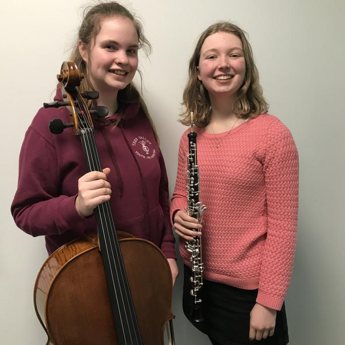 THRILLING: Beth Stenlake and Evie Brenkley, both from Barnard Castle, who will play with Tees Valley Youth Orchestra at Carnegie Hall, in New York ,in July