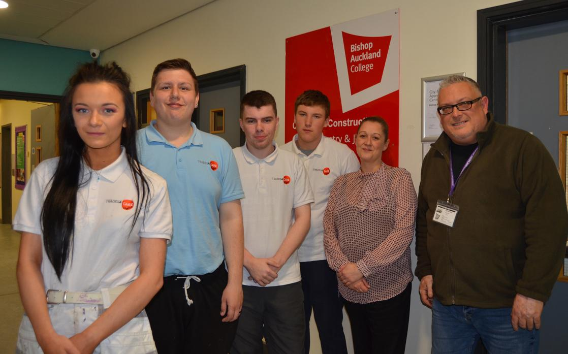 Students Lucy McKindle with Connor Woodward, Sean McGrady and Arron Andrew, with Michelle Andelin from Bishop College and Andrew Coxon from Trades4Care are set to feature in a film for the Department for Education.