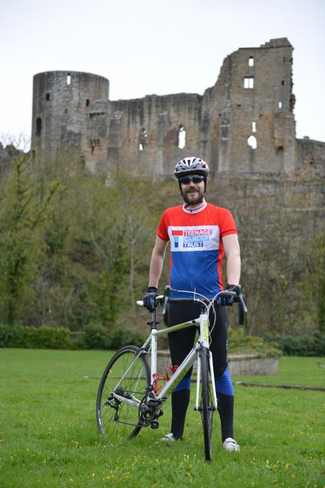Oxfam shop manager Will Wearmouth aims to cycle 360 miles in support of the Teenage Cancer Trust.