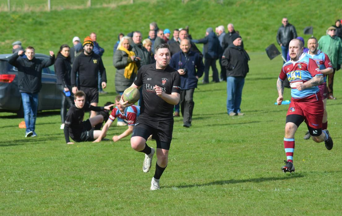 Johnny Bartlett outpaces the Horden defence to run in unopposed for Barnard Castle II's first try against Horden on Saturday