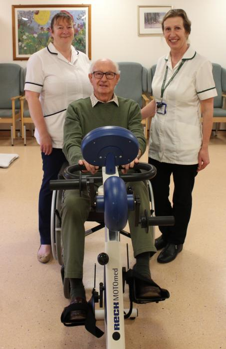 BOUNCING BACK: Brian Wilkins has benefited from the falls service at the Richardson Hospital in Barnard Castle. He is pictured with Natalie Gutteridge and Clare Regan