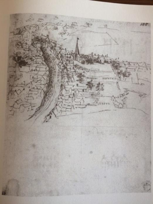 SPOT THE DIFFERENCE: This sketch of Barnard Castle in the 18th century shows the town before the Market Cross was built