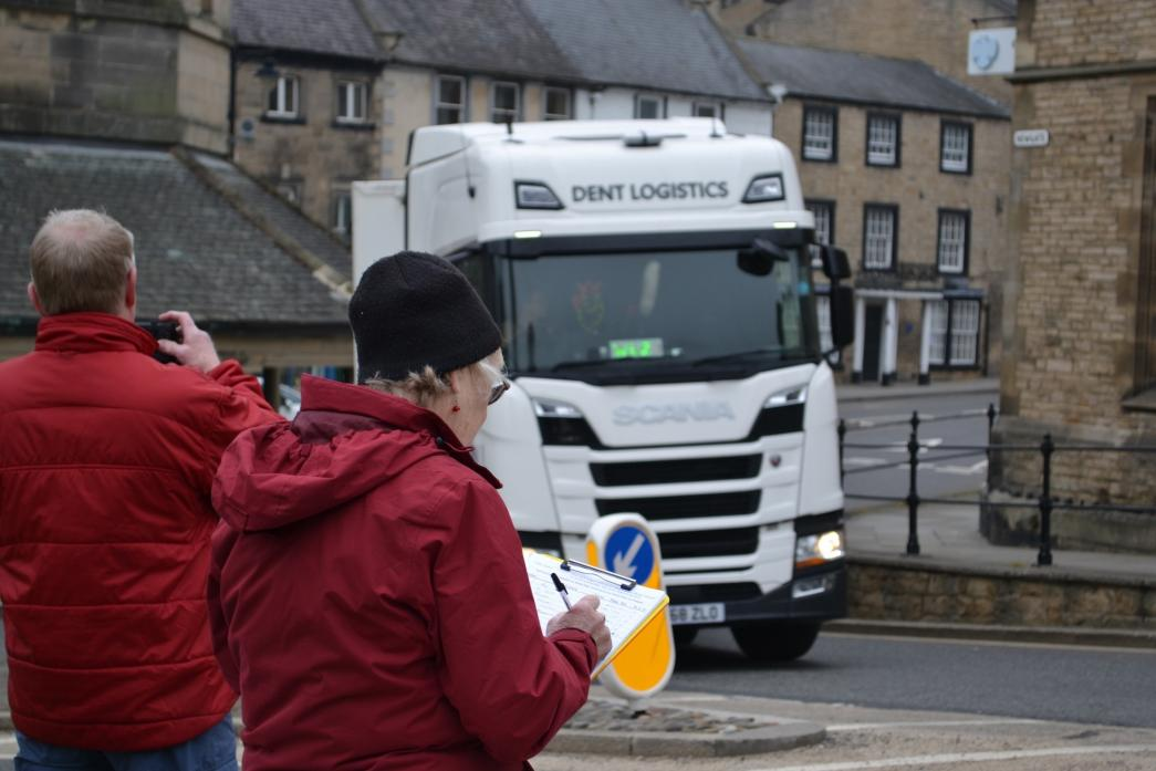 LORRY COUNT: Phil Hunt and Anne Plattern, of Barnard Castle HGV Action Group, collect evidence                          TM pic