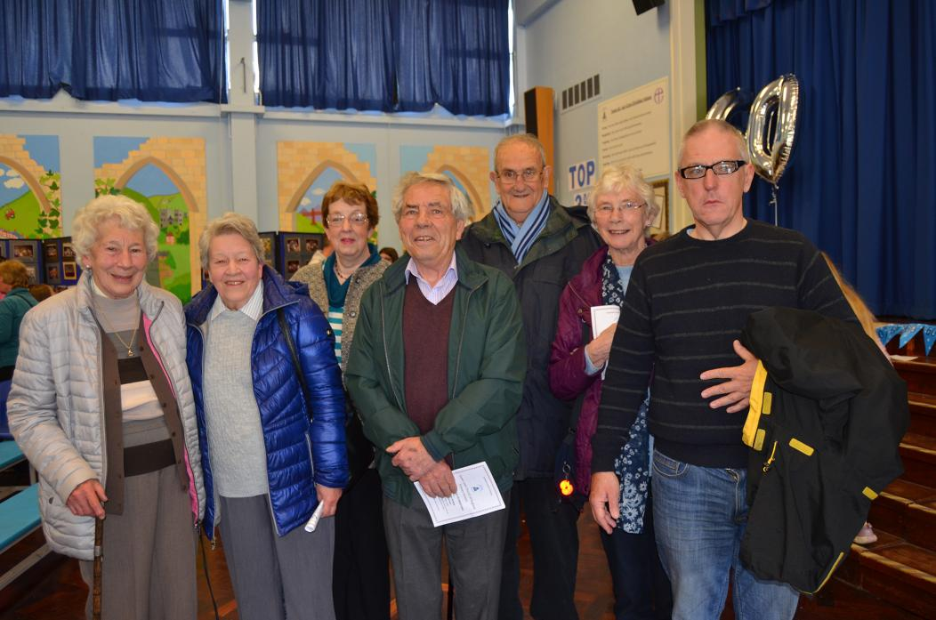 BACK TO SCHOOL: Former staff and teachers Margaret Watson, Stella Craig, Joy Redfearn, Brian Kent, Geoff Dixon, Ann Dixon and Ian Hampson enjoyed catching during the event