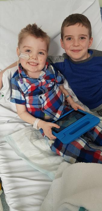BROTHERLY LOVE: Joshua and Benjamin Hawksby who are fighting cancer together