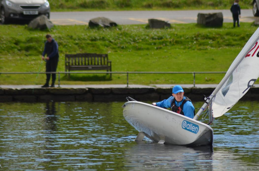 SETTING SAIL: Harry Nickells, in his Laser Radial came out top from the days' racing with three first places and a second counting.