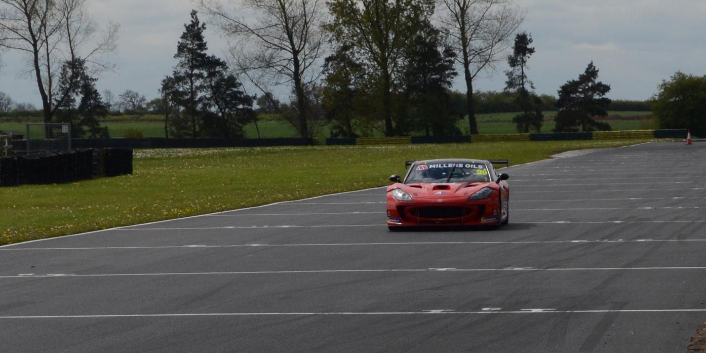 TESTING TIMES: Carl Shield, inset, and driving with his 3.7 litre Ginetta at the newly-surfaced track at Croft