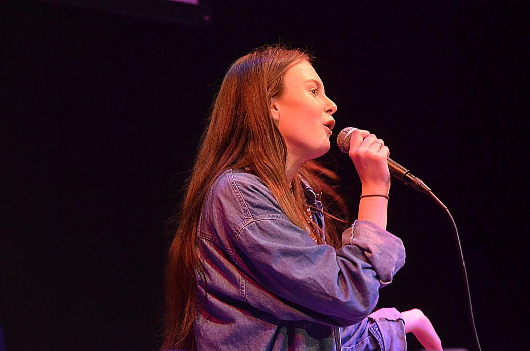 ON SONG: Jess Bassett is set to battle it out in a top regional music competition in Newcastle. She is pictured singing at The Witham
