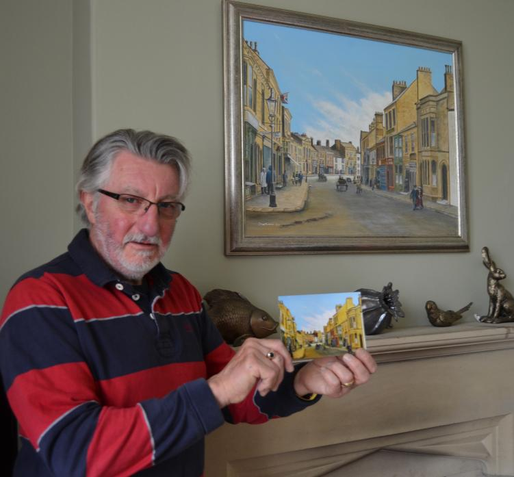 STREET SCENE: Artist Dave Palmer at home with the original acrylic painting he created