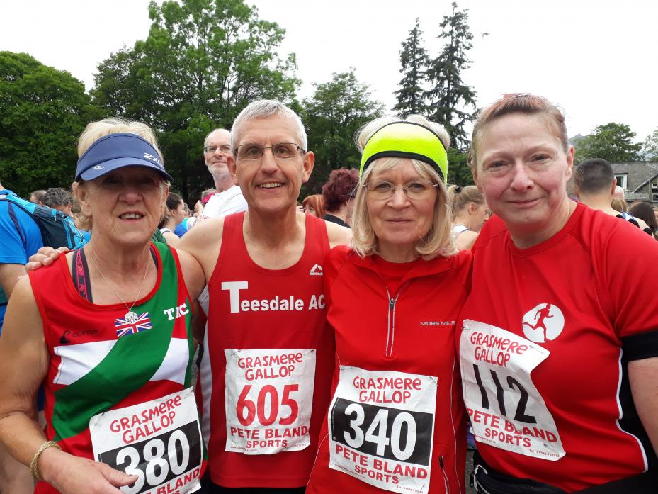CAMARADERIE: Irene Sutherland, Steve and Caroline Moss and Judith Rodwell took part in the Grasmere Gallop on Saturday