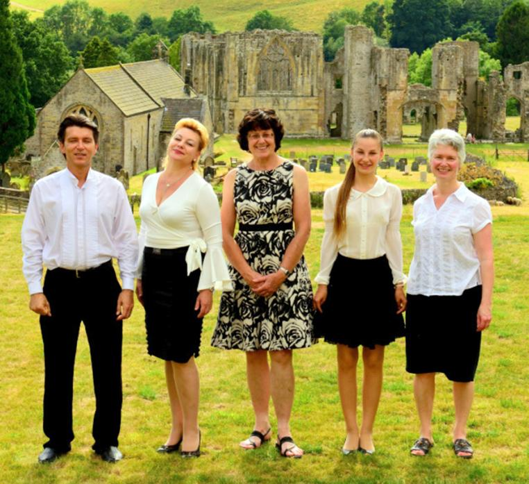 TUNING UP: Kostyantyn Tzepkov, Irina Zagorna and daughter Sophia together with Jill Russell and Penny Jones will perform at St Mary's Church, Gainford